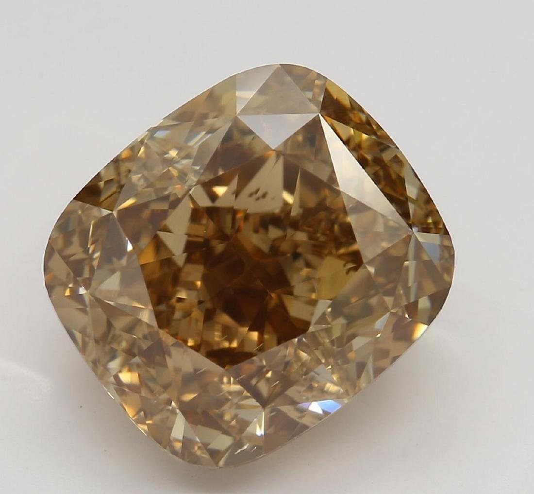 6.04 ct, Orange-Bn./VS2, Cushion cut Diamond