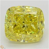 6.02 ct, Vivid Yellow/VS2, Cushion cut Diamond