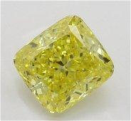 2.21 ct, Vivid Yellow/VVS2, Cushion cut Diamond