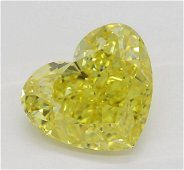 1.52 ct, Vivid Yellow-VVS1, Heart cut Diamond