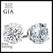 4.13 ct Round cut Diamond Pair