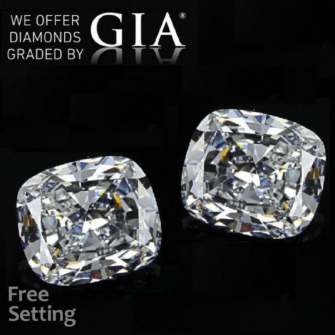 2.60 ct Cushion cut Diamond Pair