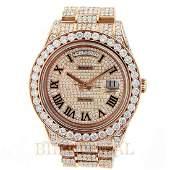 18kt Rolex Day Date Rose Gold Diamond Watch.