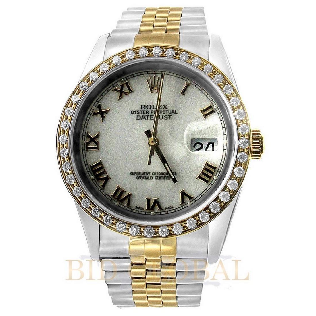 Two Tone Datejust Rolex Diamond Watch.