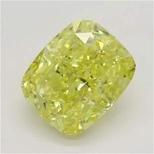 151 ct Vivid YellowVS2 Cushion cut Diamond