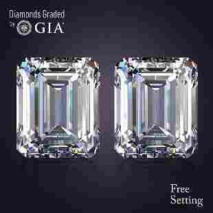 4.06 ct Emerald cut Diamond Pair