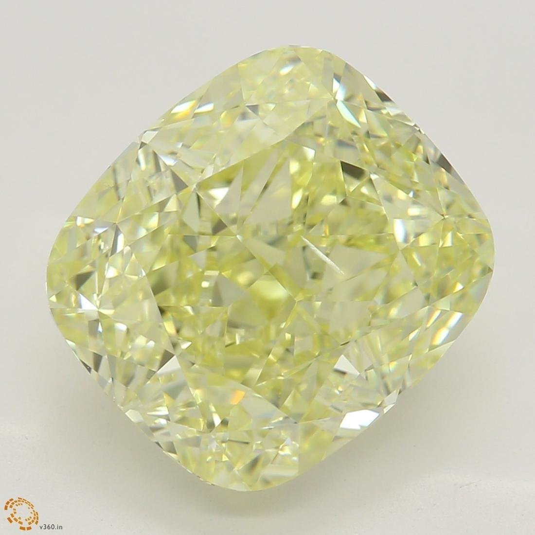 5.03 ct, Lt. Yellow/SI1, Cushion cut Diamond