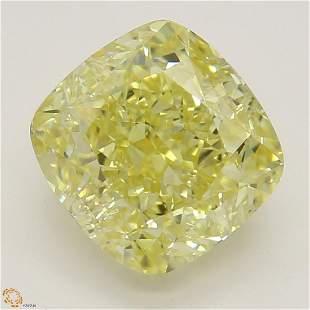 2.03 ct, Intense Yellow/VS2, Cushion cut Diamond