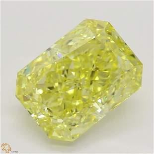 .03 ct, Intense Yellow/VS1, Radiant cut Diamond