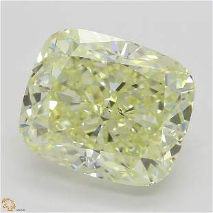 5.04 ct, Lt. Yellow/SI1, Cushion cut Diamond