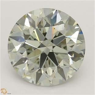 3.21 ct, Lt. Yellow Green/VS2, Round cut Diamond