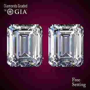 6.02 ct Emerald cut Diamond Pair