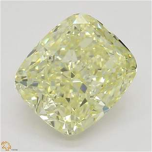 2.02 ct, Lt. Yellow/VVS1, Cushion cut Diamond
