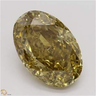 3.28 ct, Deep Brown Yellow/VVS2, Oval cut Diamond