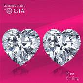 4.02 ct Heart cut Diamond Pair