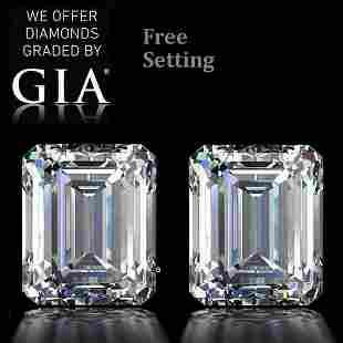 6.04 ct Emerald cut GIA Graded Diamond Pair