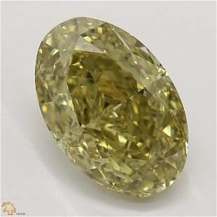 2.22 ct, Brn. Yellow/VVS1, Oval cut GIA Graded Diamond
