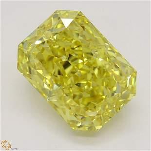 3.02 ct, Vivid Yellow/VVS1, Radiant cut GIA Graded