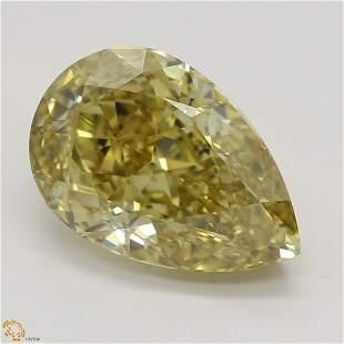 2.01 ct, Brn. Yellow/VS1, Pear cut GIA Graded Diamond