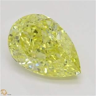 1.12 ct, Intense Yellow/IF, Pear cut GIA Graded Diamond