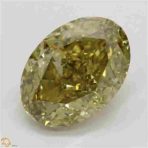 3.62 ct, Brn. Yellow/VS2, Oval cut GIA Graded Diamond