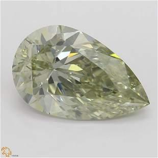 4.01 ct, Gray Green Yellow/SI1, Pear cut GIA Graded