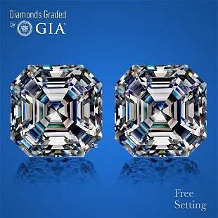 7.00 ct Sq. Emerald cut GIA Graded Diamond Pair