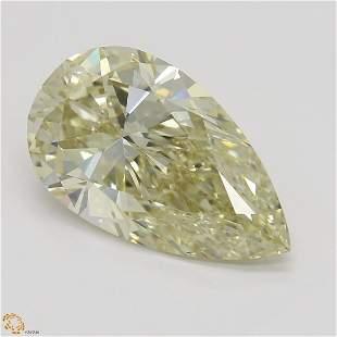 2.65 ct, Brn. Yellow/VVS2, Pear cut GIA Graded Diamond