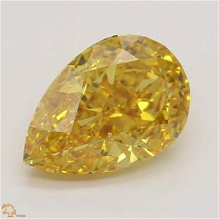 1.02 ct, Vivid Yellow Orange/SI1, Pear cut GIA Graded