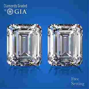 4.01 ct Emerald cut GIA Graded Diamond Pair