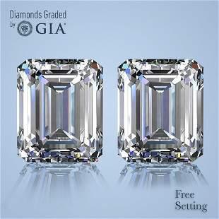 3.00 ct Emerald cut GIA Graded Diamond Pair
