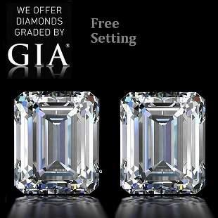 6.03 ct Emerald cut GIA Graded Diamond Pair