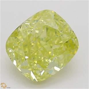 1.02 ct, Intense Green Yellow/VS2, Cushion cut GIA