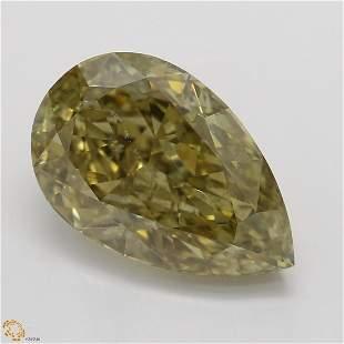 3.01 ct, Brown Yellow/SI2, Pear cut GIA Graded Diamond