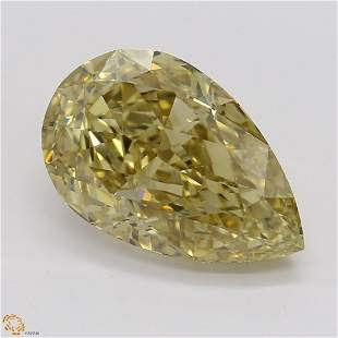 3.03 ct, Brn. Yellow/VS2, Pear cut GIA Graded Diamond