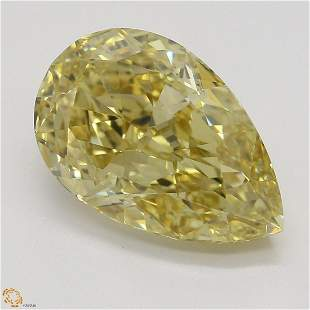 3.08 ct, Brn. Yellow/VVS2, Pear cut GIA Graded Diamond