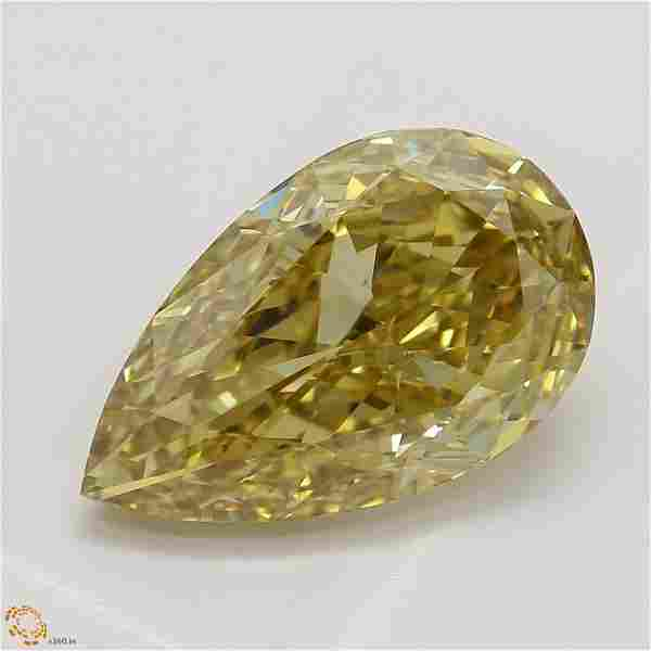 2.55 ct, Brn. Yellow/VS2, Pear cut GIA Graded Diamond