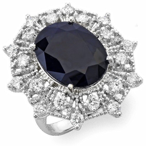 13: 14 kt ring with 1.59 carat in dia, 10.25 carat in S