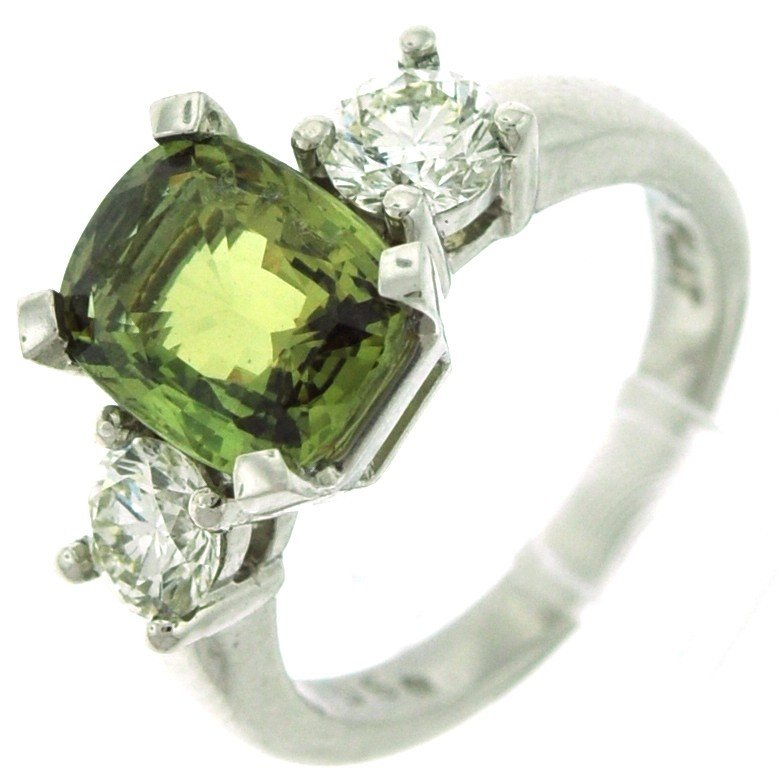 16: Plat ring with 1.15 ct in dia, 4.06 ct in Alexandri