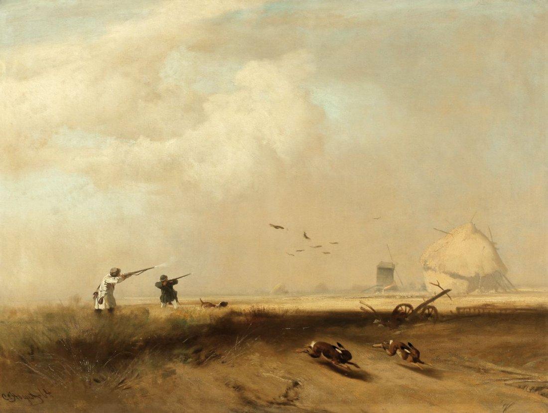 1: Charles Hoguet 1821 Berlin - 1870 Berlin - 'Jäger an