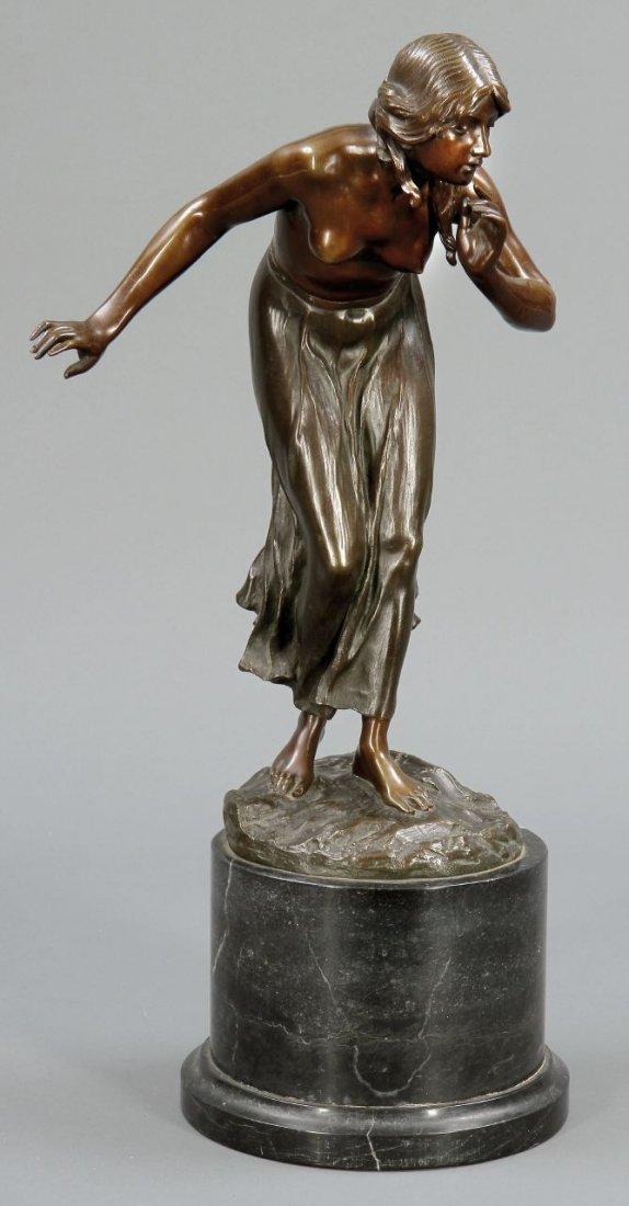 16: Martin Götze 1865 - 1928 - Die Stille - Bronze. Bra