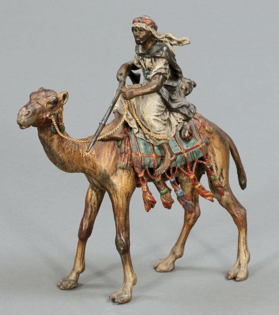 134: Wiener Bronze Franz Xaver Bergmann - Araber auf Ka