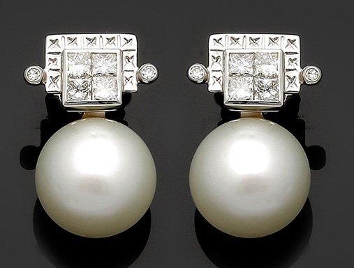 Paar wechselbare Ohrstecker mit Diamanten 750er WG, ges