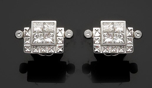Paar wechselbare Ohrstecker mit Diamanten 750er WG, ges - 2
