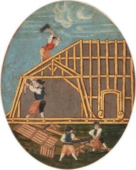 Künstler Um 1800 - Zimmermänner Bei Der Arbei
