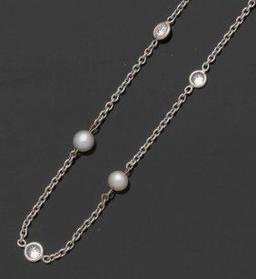 Zartes Collier Mit Brillanten Und Perlen 750e