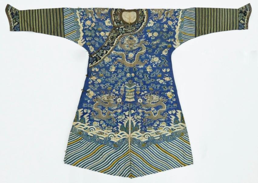 Chinese Kesi Silk Imperial Dragon Robe 53''x79''. An
