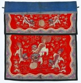 Chinese Silver Thread Foo Lion Silk Altar Banner