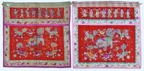 Pair Chinese Foo Lion Silk Altar Banners 35''x35''
