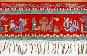 Chinese Silk Precious Ornaments Banner 3'x14'.